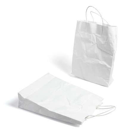 Crumpled Shopping Bags on White Background photo