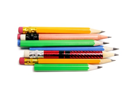 Row of Pencils on Isolated White Background photo