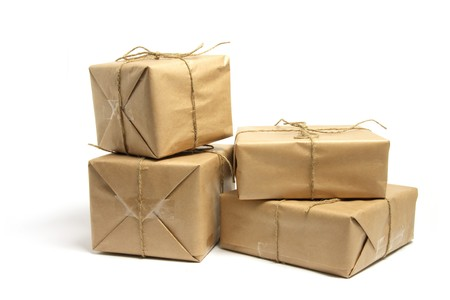 Brown Packages on White Background photo