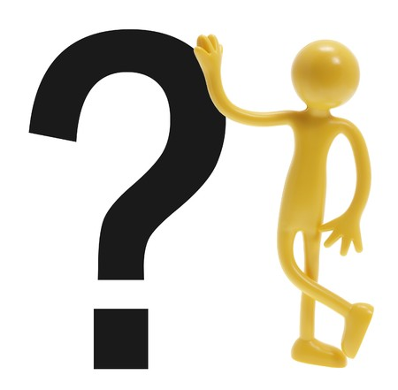 lean out: Miniature Figure and Question Mark on White Background
