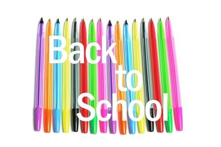 ball pens stationery: Volver al concepto de escuela sobre fondo blanco
