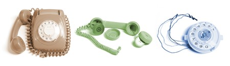 Telephone and Parts on White Background photo