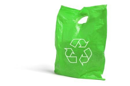 reusable: Sacchetto di plastica su sfondo bianco