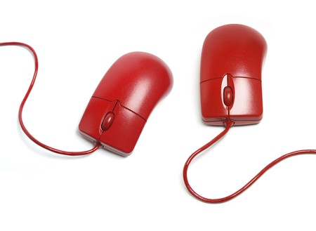 Red Computer Mouse on White Background photo