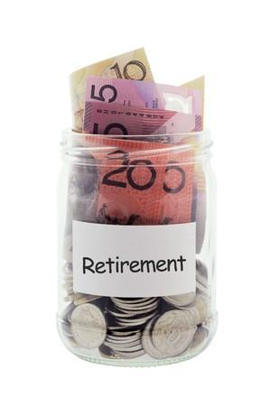 Jar with Money on White Background photo