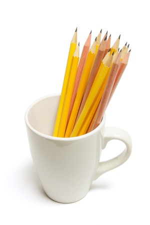 tidiness: Pencils in Mug on White Background