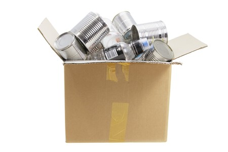 reuseable: Box of Rubbish for Recycle on White Background