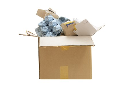 Box of Paper Rubbish for Recycle on White Background Stock Photo