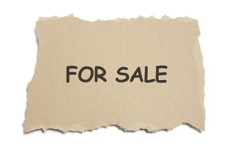 annoucement: For Sale Sign on White Background