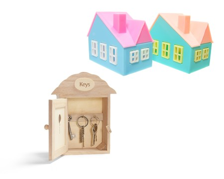 Key Box and Miniature Houses on White Background Stock Photo - 7167782