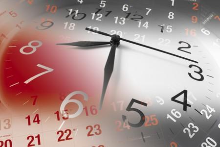 emploi du temps: Composite de calendrier et horloge  Banque d'images