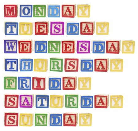 thursday: Days of the Week on White Background Stock Photo