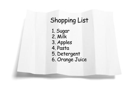 Het winkelen lijst op geïsoleerde witte achtergrond