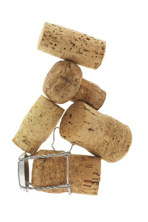 Cork Stoppers on White Background photo