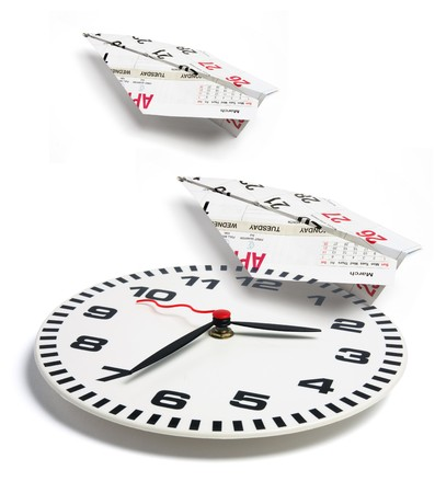 Clock and Paper Planes on White Background photo