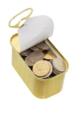 tin can: Coins in Tin Can on White Background Stock Photo