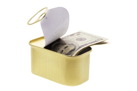 Banknotes in Tin Can on White Background photo
