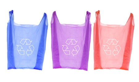 Plastic Shopping Bags on Isolated White Background Stock Photo - 7330448