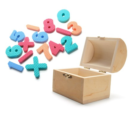 Wooden Treasure Box and Numbers on White Background photo