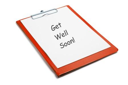 best regards: Get Well Soon Message on Clipboard