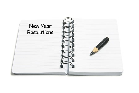 New Year Resolutions on White Background photo