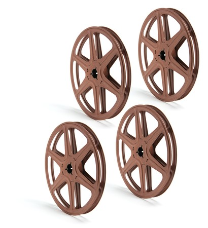 filmmaking: Movie Film Reels on White Background Stock Photo