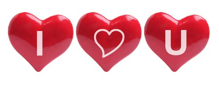 Love Hearts on White Background photo