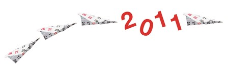 Calendar Paper Planes on White Background photo