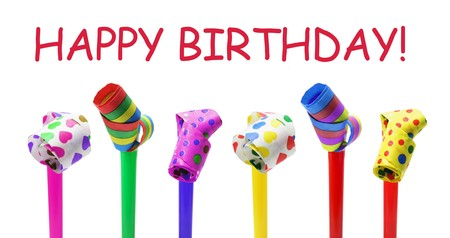 blowers: Happy Birthday Concept on White Background