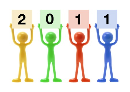 New Year and Miniature Figures on White Background photo