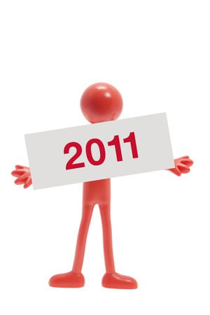 New Year and Miniature Figure on White Background photo
