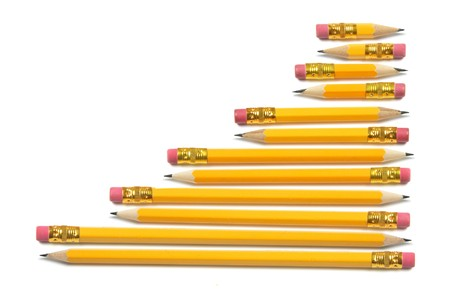 Rows of Pencils on Isolated White Background photo