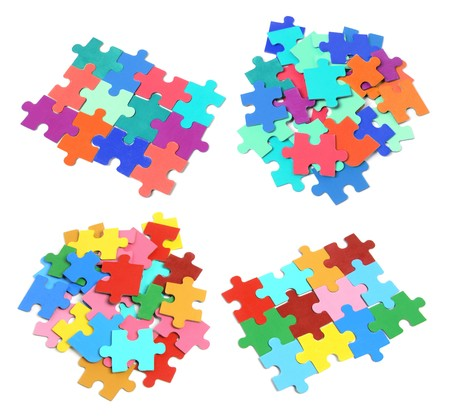 Jigsaw Puzzle Pieces on White Background Stock Photo
