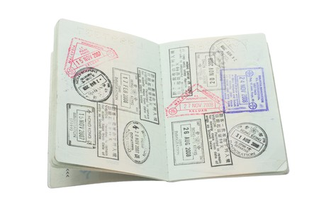 stamp passport: Passport on Isolated White Background