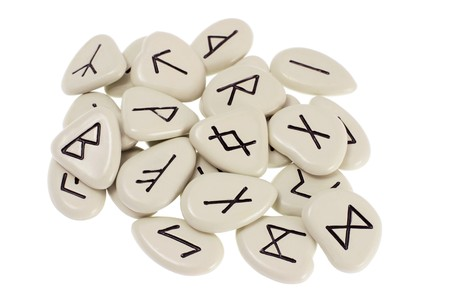 Rune Stones on White Background photo
