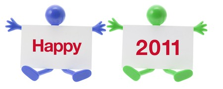 New Year and Rubber Figure  on White Background photo