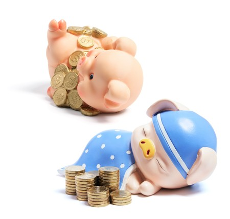 Piggybanks and Coins on White Background Stock Photo - 7425999