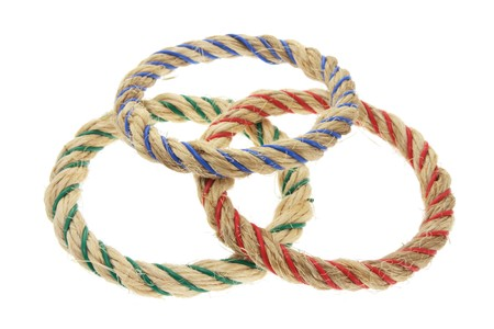 toss: Ring Toss Game Ropes on White Background
