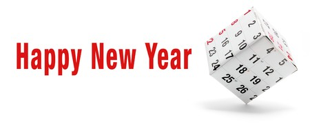 New Year and Box Calendar on White Background photo