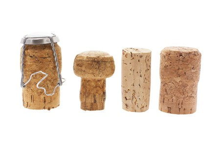 cork: Cork Stoppers on White Background