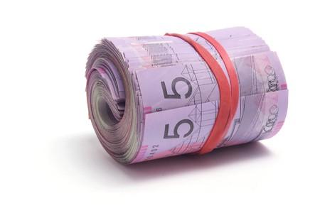 Bundle of Dollar Notes on White Background photo
