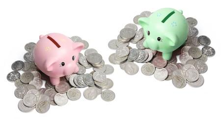piggybanks: Piggybanks and Coins on White Background
