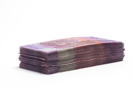Stack of Dollar Notes on White Background photo