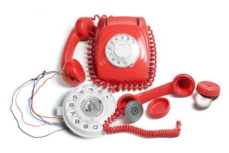 Telephone and Parts on Isolated White Background photo