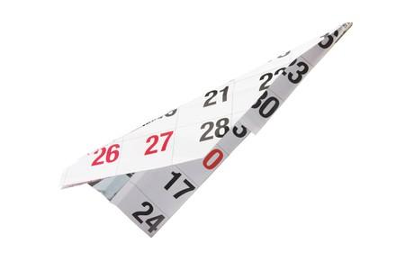 Calendar Paper Plane on White Background photo