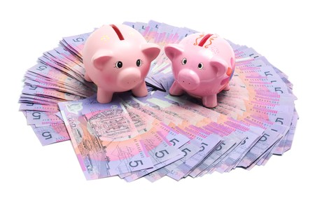 Piggy Banks with Dollar Notes on White Background photo