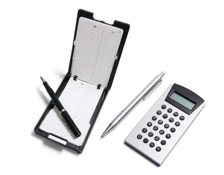 Phone Index Organizer and Calculator on White Background photo