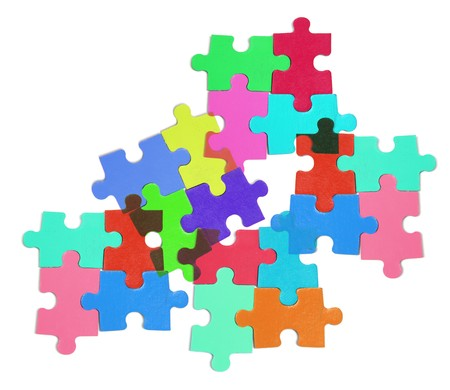 compatibility: Jigsaw Puzzle Pieces on White Background Stock Photo