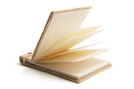 note book: Nota il libro su sfondo bianco  Archivio Fotografico