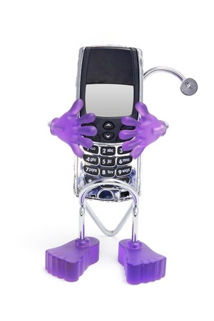 Mobile Phone with Holder on White Background photo